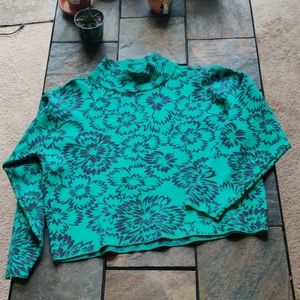 Maeve Anthropologie Teal Hibiscus Floral Sweater